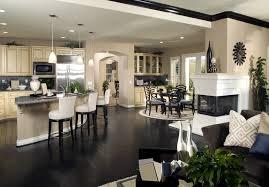 open kitchen living room designs. Beautiful-open-space-living-room.  Black-wood-floor-feats-leather-bar-stools-in- Open Kitchen Living Room Designs