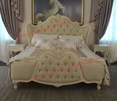 exquisite fabric padding headboard with solid wood bed in ivory white painting