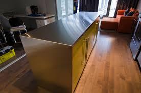 ikea island with custom theril doors and stainless steel countertopmodern kitchen toronto
