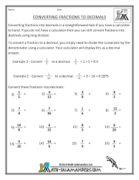 math | Engaged Immigrant YouthConvert Fractions to Decimals ...