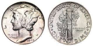 1945 S Mercury Silver Dime Micro Coin Value Prices Photos