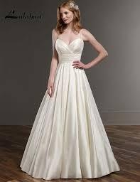 simple spaghetti straps a line taffeta wedding dresses with