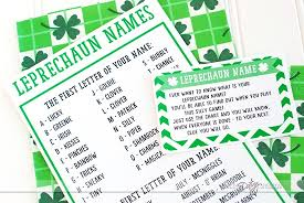 What Is Your Leprechaun Name Chart St Patricks Day Scavenger Hunt