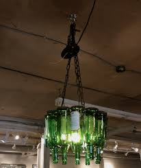 home made green wine bottle pendant lamp with wrought iron chain f as well lights diy also making lamps