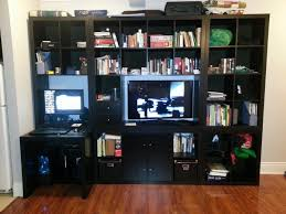 expedit wall unit tv with built in desk