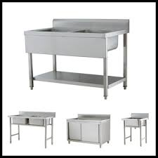 stainless steel kitchen table. Large Size Kitchen Stainless Steel Work Table With Washing Hand Sink