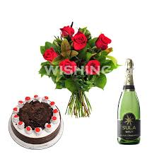 Buy Happy Birthday Gifts Flowers Cake Champagne Wishing Eyes