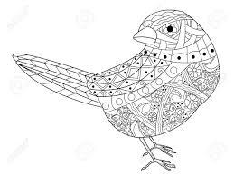 大人ベクトル イラストの塗り絵のすずめ大人のための着色抗ストレススタイルの鳥黒と白のラインレ