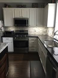 Dark Granite Kitchen Countertops White Hanging Cabinet Finish Patterned Black Granite Countertop