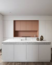 Eclectic Kitchen Cabinets Gorgeous Eclectic Kitchen With Pink Cabinets And Terrazzo Countertop My