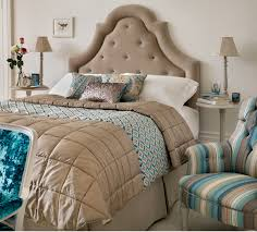 Bedroom: Quilted Bedspreads With Beige Headboard And White Rug ... & Quilted bedspreads with upholstered headboards and striped armchair also  table lamps for modern bedroom design Adamdwight.com