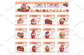 Cake Menu Template For Bakery Pastry Shop Design Illustrations