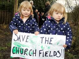 Protesters form human chain ahead of Church Fields inquiry | Bury Times
