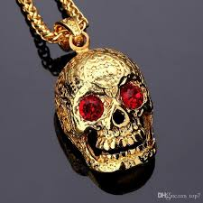 whole 2018 fashion skull pendant hip hop necklace 18k golden hiphop jewelry big red diamond for men women long chains gold 75cm chains number pendant