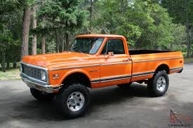1972 chevy pickup, 4x4, custom 10, Orange . 350 motor C10
