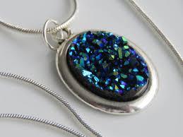 druzy pendant necklace in navy blue