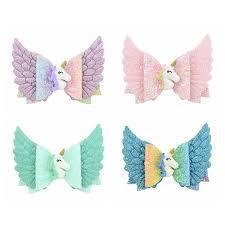 <b>new 4 Colors</b> Girls blingbling <b>Unicorn</b> bow hairpins 3.5 inches 8.8cm ...