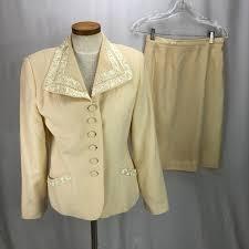 Albert Nipon Size Chart Albert Nipon Womens Cream Wool Skirt Suit 6