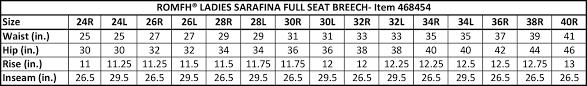 Breeches Size Chart Sarafina Full Seat Breeches