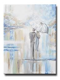 >art abstract painting canvas print couple umbrella romantic walk  giclee print art abstract painting couple w umbrella romantic walk white blue grey x large canvas wall art