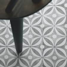 grey cement tile effect cushioned vinyl flooring
