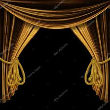 opened gold curtains on black background stock photo 20940575
