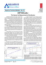 Orp Millivolts The Sensor For Measurement Of Disinfection