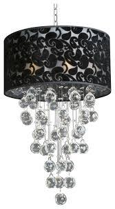 modern chandelier with black shade rain drop crystal ball fixture