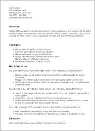 High School Work Resume Professional Cafeteria Worker Templates To Showcase Your Talent