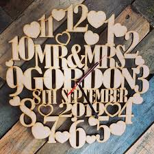 personalised wooden anniversary clock