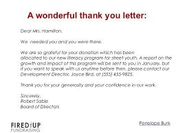 Fundraising Thank You Letter Templates Thank You Letter For Thanks To Donor Fundraising Examples