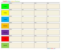 Home Life Weekly Weekly Diet Menu Planner