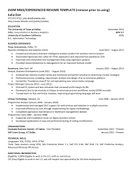 Jsom Resume Template JSOM MBAEXPERIENCED RESUME TEMPLATE Remove Prior To Using Julia Doe 15