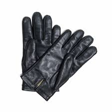 a custom lambskin leather gloves black lined in cashmere and decorative stitching view1