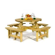 picnic pub bench 8 seater round wooden garden table thick timbers free delivery