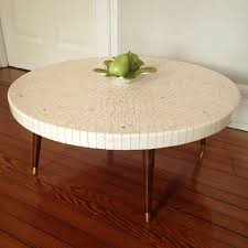 Mid Century Modern Round Pink Tile Top Coffee Table