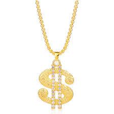 MQCHUN Gold Color <b>US Dollar</b> Rhinestone Necklace <b>Hip Hop</b> ...