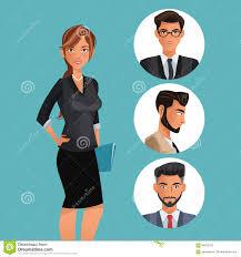 Employee Office Woman Employee Office Work Men Icons Stock Vector Illustration Of