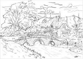 Landscape with hills and vegetation. Landscapes Coloring Pages For Adults