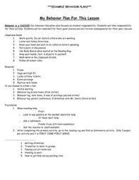 this word document is a fill in form for individuals to create an behavior intervention plan example behavior plan my behavior plan for this lesson behavior is a