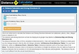 Distance Chart Us Distance Calculator Metric Conversion Postal Codes
