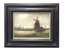 small windmill painting framed