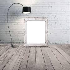 black lamp brick frame mockup portrait shabby chic white brick wall wood floor wallpaper and background r38 floor