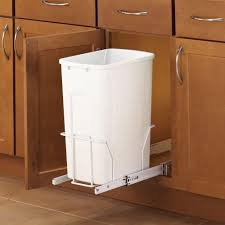 Steel In Cabinet 35 Qt Single White Pull Out Trash Can Modern