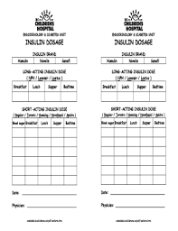 Fillable Online Insulin Sliding Scale Form Fax Email Print