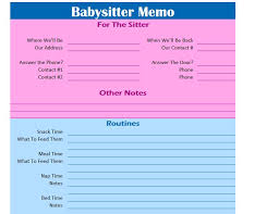 27 Images Of Babysitter Information Sheet Template Word | Bosnablog.com