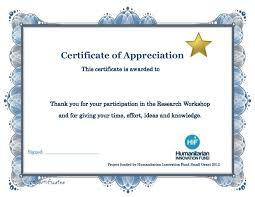 Certificate Of Appreciation Template Fillable Certificate Of