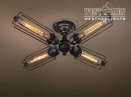 custom made westmenlights industiral punk wrought iron ceiling lamp chandelier fixture 4 lights