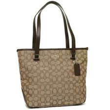 Coach F55364 Outline Signature Khaki Brown Zip Tote