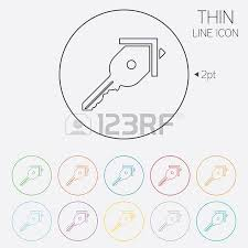 house key outline. Key From The House Sign Icon. Unlock Tool Symbol. Thin Line Circle Web Icons Outline